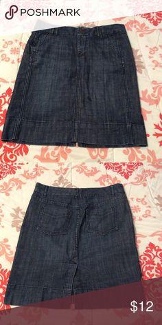 Gap Limited Edition Denim Skirt Perfect condition, worn only twice. Fantastic skirt for going back to school!  Dark denim color. 💝 LETS MAKE A DEAL. 💝 LETS MAKE A BUNDLE. 💝 MAKE ME AN OFFER Gap Skirts