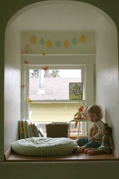 Lovely little reading nook.  I look forward to building nooks for my children.