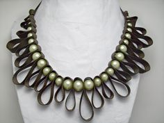 Decorative loops brown ribbon with mint green by AlyxAndreaDesign, $23.00