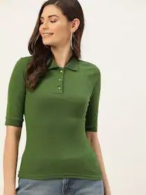 DressBerry Women Olive Green Ribbed Polo Collar T-shirt