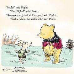 Cartoon: Pooh & Piglet at Tanagra. With thanks to Michael G. Munz @TheWriteMunz for tweet inspiration.