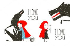 Little Red Riding Hood Loves Wolf by Popmarleo Shop on @creativemarket