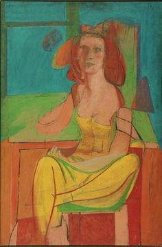 Willem de Kooning  Seated Woman, c. 1940  Oil and charcoal on Masonite, 541/16 x 36 inches
