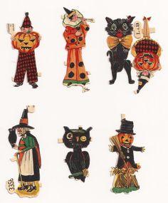 1920's German HALLOWEEN Witch, Black Cat, Owl Embossed Die-Cut Scraps