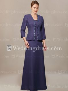 Chiffon A-line Mother of the Bride Outfit with Beading MO183 - Indigo $139
