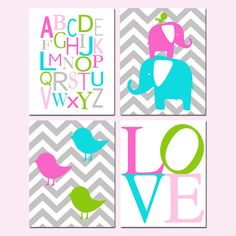 Baby Girl Nursery Art Quad Set of Four 11x14 Prints by Tessyla