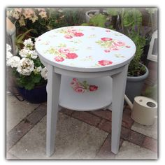 Table painted grey and decoupaged with Cath Kidston Blue Antique Rose Bouquet print