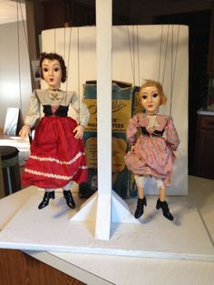 Vintage Hazelle's Lifelike Marionettes.  Purchased October 15, 2016 online auction for $11.00 + $6.50 s&h.  On the left is No. 906 Olga (Russian Girl).  She will go nicely with the 910 Carmen (South American Girl) I received recently.  The one on the right is 824 Cinderella (The Kitchen Maid) but she is missing her white apron. Both of these marionettes are from 1950.