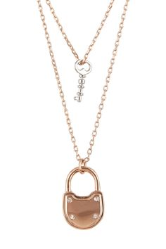 Adorable Two-Tone Lock & Key Necklace