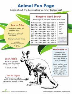 Worksheets: Fun with Kangaroos