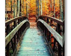Autumn Canvas, Fall Canvas Art, Fall Ready to Hang, Fall Bridge, Autumn Bridge, Orange Trees, Fall Art, Autumn Nature, Fall Landscape art by mayaredphotography. Explore more products on http://mayaredphotography.etsy.com