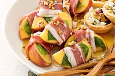 Serve the prosciutto-wrapped peaches with forks so your guests can avoid sticky honey fingers. Brunch Menu, Brunch Recipes, Appetizer Recipes, Savoury Finger Food, Finger Food Appetizers, Christmas Finger Foods, Christmas Lunch, Whole Food Recipes, Cooking Recipes