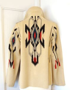 Vtg RARE early 30s 40s CHIMAYO jacket coat hand woven wool GANSCRAFT Art Deco 14