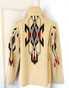 Vtg RARE early 30s 40s CHIMAYO jacket coat hand woven wool GANSCRAFT Art Deco 14