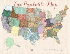 Free printable map! Printable shabby chic united states map from I Heart Family Travels. Swoon. Free Printable wall art.