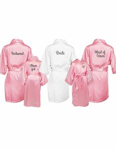 Embroidered Satin Bridal Party Robes - Personalized Wedding Robes