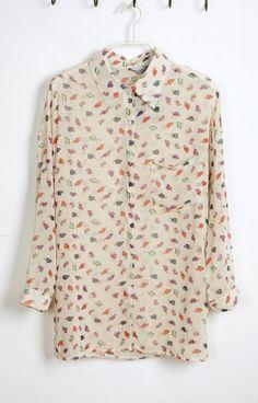 Beige Lapel Long Sleeve Chiffon Shirt