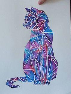 Geometrizacion dibujo acuarela gato galaxia
