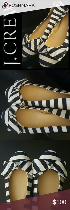 J. Crew Italy Ballet Flats J. Crew Signature Brand in One of the Most Popular Ballet Flats! Gorgeous in Striped Design with Bow Details on Vamp! Made Entirely in Italy, just Outside of Florence!   Features Cushiony Interior, Fabric Upper, Rubber Outsole in Size 10, Excellent Used Condition! J. Crew Shoes Flats & Loafers