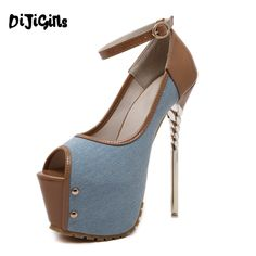 16cm extreme high heels Denim Style women high heel pumps platform shoes sexy peep toe dress party shoes ladies footwear Spiral