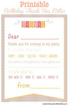 Thank You Note Template For Kids Free Printables Thank You