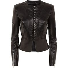 Alexander Wang Collarless Biker Jacket ($2,220) ❤ liked on Polyvore featuring outerwear, jackets, leather motorcycle jacket, leather moto jacket, collar jacket, leather jackets and real leather jackets