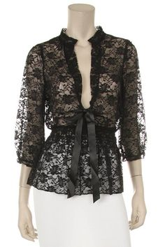 Black Lace Top 3/4 Length Sleeve V Neck With Bow $45.99