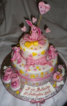 Pink  girly bunny, bears and elephant  cake ~ all edible