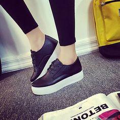 Womens Fashion White Platform Sneakers Lace Up Casual Sportswear Walking Shoes