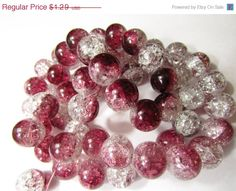 10 Crackle Glass Beads, Burgundy & Clear Color, Large 14mm- Jewelry Making- Bracelet, Necklace, Earrings  $1.23