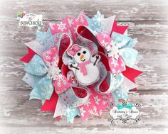 Snowman Christmas  Over The Top Hairbow by BrittanysBowsNMore2