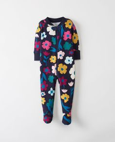 Little Sleepers With Feet In Organic Cotton in Winter Blooms - main
