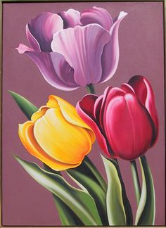 Lowell Blair Nesbitt, Tulipa Hybrida, Oil Painting - May 2013 Tulip Drawing, Tulip Painting, Fabric Painting, Painting & Drawing, Oil Painting Flowers, Painting Abstract, Arte Floral, Pictures To Paint, Painting Inspiration