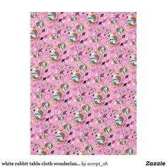 white rabbit table cloth wonderland tablecloth