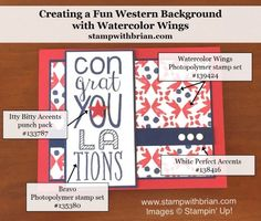 2016  Stamp Sets:  Watercolor Wings, Bravo  Papers:  Real Red, Night of Navy, Whisper White  Inks:  Real Red, Night of Navy  Accessories:  Itty Bitty Accents Punch Pack (star), White Perfect Accents, Stampin' Dimensionals