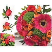 Sam's Club - Wedding Collection - Hot Pink, Green and Orange pc. Hot Pink Roses, Orange Roses, Green And Orange, Orange Pink, Purple, Bulk Wedding Flowers, Floral Wedding, Wedding Bouquets, Wedding Bells