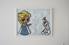 Frost - Frozen - Hama perler - Hama beads - Elsa - Olaf - Disney. Perler Bead Designs, Perler Bead Templates, Hama Beads Design, Perler Beads, Perler Bead Art, Fuse Beads, Hama Perler, Frozen Hama, Frozen Pattern