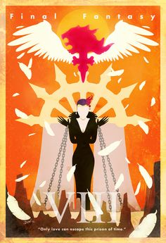 """Final Fantasy VIII Vintage Poster. """"Only love can escape this prison of time."""""""