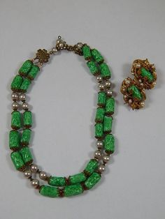 Rare Vintage Miriam Haskell Faux Jade and Faux Pearl Necklace and Earring Set