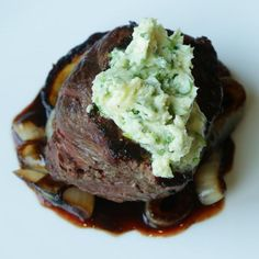 ... of Sirloin with Blue Cheese Butter and Caramelized Balsamic Onions