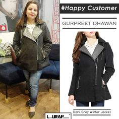 DARK GREY WINTER JACKET – Happy Customer , happy customer pictures , Metallic Zipper, Dark Grey and Tweed,  Grey winter jacket, Grey winter jacket outfit, winter jacket women grey, grey winter jacket style, Christmas Gift , grey winter jacket Christmas gifts