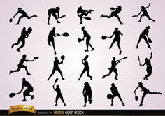 20 silhouettes of a female tennis player in different positions, hitting the ball with the racket by the left or right side, jumping, receiving and tossing the ball. Nice pack of silhouettes to use in a sport handbook, in a promo for professional training, or to announce a game.