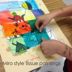 Love this: Miro style tissue painting
