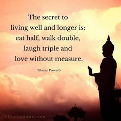 The secret to living well and longer is : eat half , walk double , laugh triple and love without measure . Tibetan Proverb. Quotes and meditation.