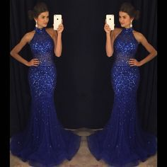 Mermaid Navy Blue High Neck Rhinestone Sequin Prom Dresses, PD0255