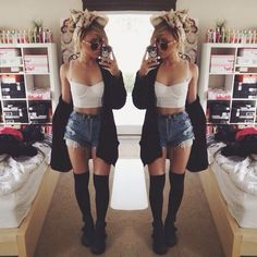 Crop top, shorts, cardigan, thigh highs, booties and head scarf.