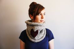 The Clifton // Thick Knit Cowl with Heart  Neckwarmer Red Heart // Grey Marble and Claret // Made to Order