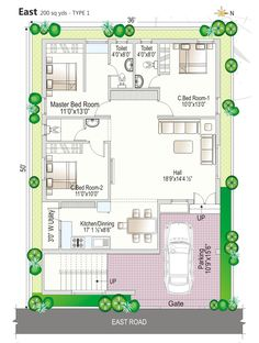 West Facing House Plan - Home Design 2bhk House Plan, Model House Plan, Duplex House Plans, Garage House Plans, Best House Plans, Dream House Plans, North Facing House, West Facing House, House Map