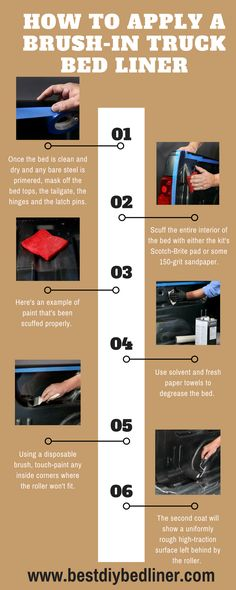 Steps For Applying Brush-In Truck #Bedliner https://www.bestdiybedliner.com/2017/02/17/rhino-liner-vs-line-x/ If you are applying the first time a Bedliner in your truck and you don't how to do that. Then you can simply read the steps of an infographic and do it. #RhinoLiner #LineX