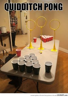 Quidditch pong, drinking games, beer pong, harry potter - this would be fun. Harry Potter Fiesta, Cumpleaños Harry Potter, Harry Potter Birthday, Harry Potter Cakes, Harry Potter Halloween Party, Daniel Radcliffe, Doug Funnie, Anniversaire Harry Potter, Silvester Party